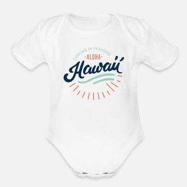 Surfing Hawaii - Organic Short-Sleeved Baby Bodysuit