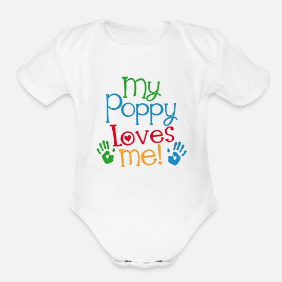 Poppy Baby Clothing - My Poppy Loves Me Grandson Gift - Organic Short-Sleeved Baby Bodysuit white