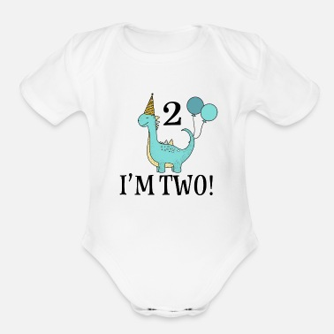 Old 2nd Birthday Dinosaur Party - Organic Short-Sleeved Baby Bodysuit