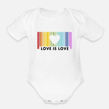 Love Is Love Barcod Rainbow - Organic Short-Sleeved Baby Bodysuit