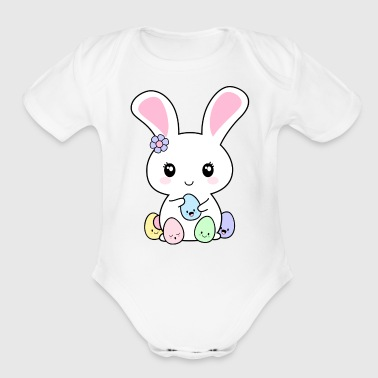 Kawaii Easter Bunny - Organic Short Sleeve Baby Bodysuit