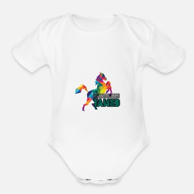 Gallop Cant be Tamed white Souvenir, Gift, Gift Idea - Organic Short-Sleeved Baby Bodysuit