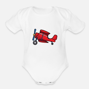 Pilot ✈ Biplane Design | Aircraft in Cartoon Style ✈ - Organic Short-Sleeved Baby Bodysuit