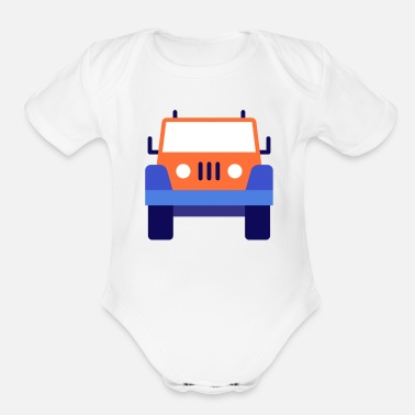 car illustration - Organic Short-Sleeved Baby Bodysuit