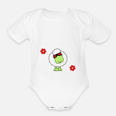 3d Funny Sheep with Glasses - Organic Short-Sleeved Baby Bodysuit