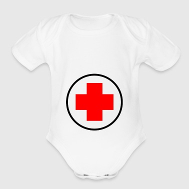 red cross - Organic Short Sleeve Baby Bodysuit