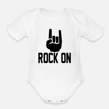 Record rock on Hands3 - Organic Short-Sleeved Baby Bodysuit