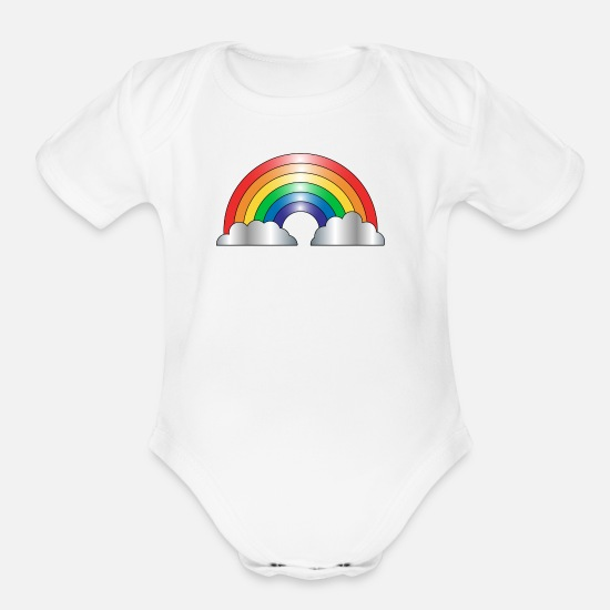 Baby Baby Clothing - Rainbow baby Tank - Organic Short-Sleeved Baby Bodysuit white