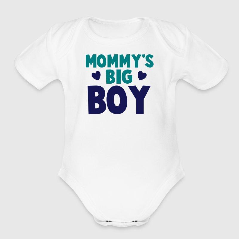 MOMMY's BIG boy blue - Organic Short Sleeve Baby Bodysuit