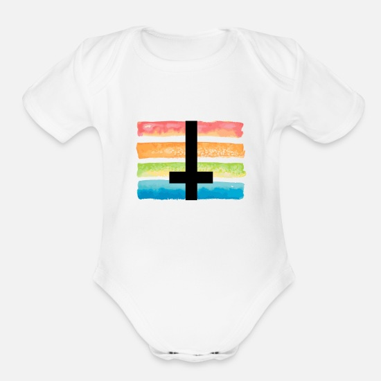 Rights Baby Clothing - Cross Rainbow Peace LGBT - Organic Short-Sleeved Baby Bodysuit white