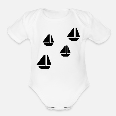 Sailboats SAILBOATS - Organic Short-Sleeved Baby Bodysuit