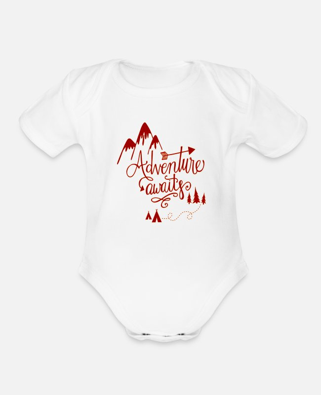 Mountains Baby One Pieces - Adventure Awaits - Organic Short-Sleeved Baby Bodysuit white