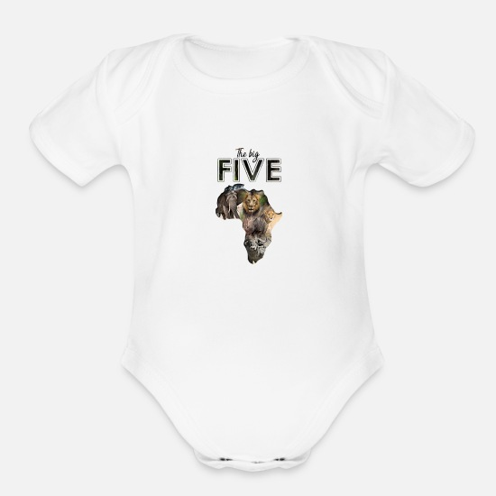 Rhinoceros Baby Clothing - The Big 5 - Organic Short-Sleeved Baby Bodysuit white