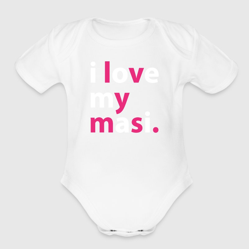 I love my masi - pink & white vector image - Organic Short Sleeve Baby Bodysuit