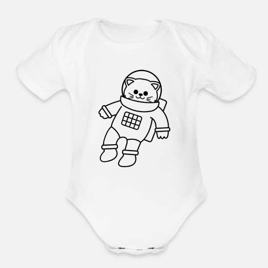 Gift Idea Baby Clothing - SPACE CAT - Organic Short-Sleeved Baby Bodysuit white