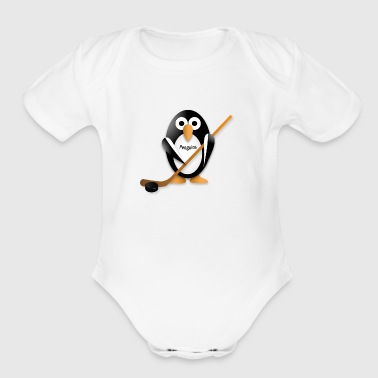 Penguin with a hockey stick - Organic Short Sleeve Baby Bodysuit