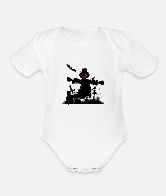 Funny Halloween Baby One Pieces - Funny halloween design - Organic Short-Sleeved Baby Bodysuit white