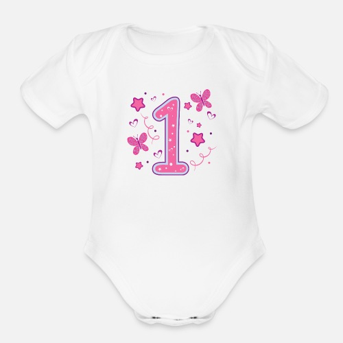 Organic Short Sleeved Baby BodysuitFirst Birthday Girl 1st Quote One Gift