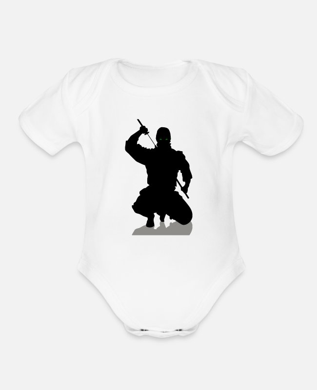 Black Metal Baby One Pieces - Black Ninja - Organic Short-Sleeved Baby Bodysuit white