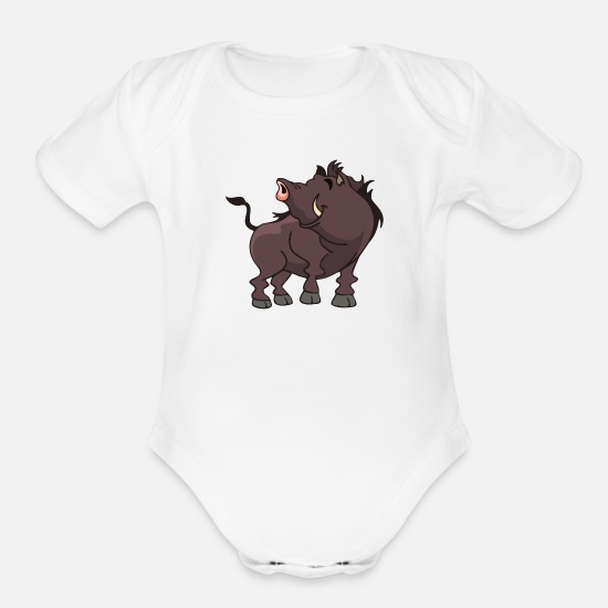 Wild Boar Baby Clothing - wild boar - Organic Short-Sleeved Baby Bodysuit white