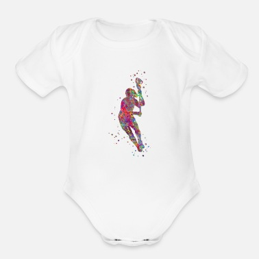 Lacrosse Player Lacrosse player, sport, Lacrosse - Organic Short-Sleeved Baby Bodysuit