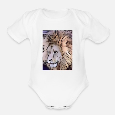 Junglecontest JUNGLECONTEST LION LION - Organic Short-Sleeved Baby Bodysuit