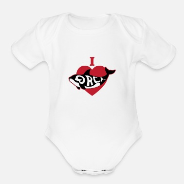 I Love Orcas Heart Killer Whale - Organic Short-Sleeved Baby Bodysuit