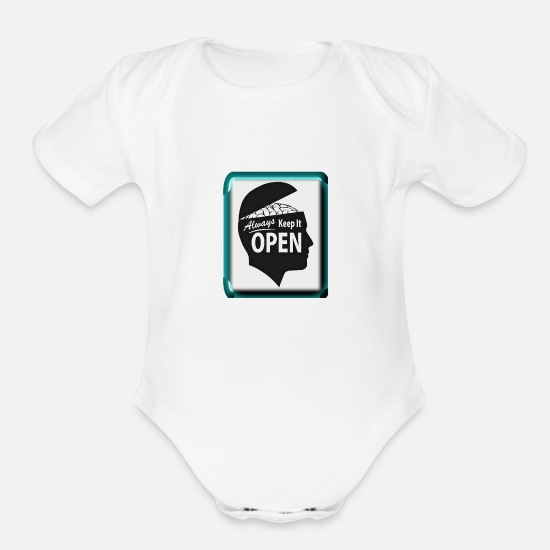 New World Order Baby Clothing - open mind - Organic Short-Sleeved Baby Bodysuit white