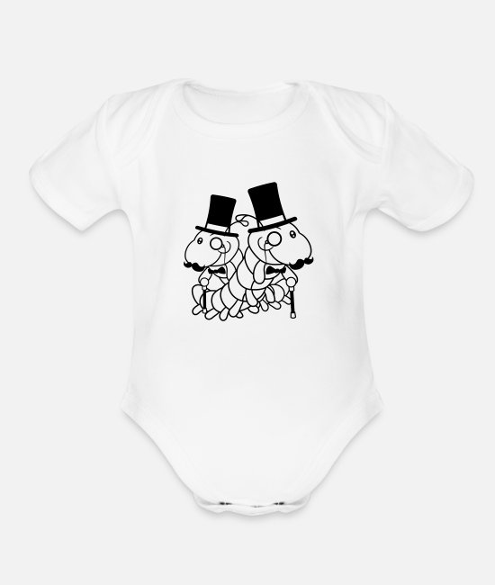 Cute Baby One Pieces - 2 friends team couple duo sir worm gentleman rich - Organic Short-Sleeved Baby Bodysuit white