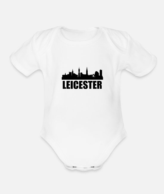 Skyline Baby One Pieces - Leicester Skyline - Organic Short-Sleeved Baby Bodysuit white