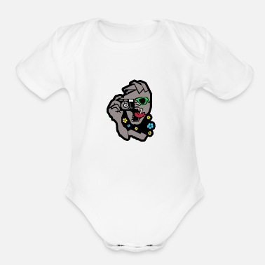 Guerilla Waikiki Street Guerilla Logo colored with outline - Organic Short-Sleeved Baby Bodysuit