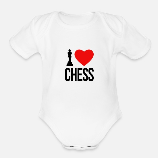 Chess Baby Clothing - I LOVE CHESS - Organic Short-Sleeved Baby Bodysuit white