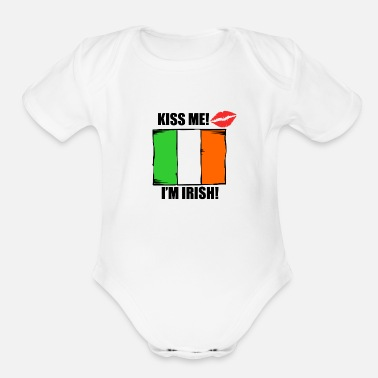 Kiss Kiss Me I'm Irish - Organic Short Sleeve Baby Bodysuit