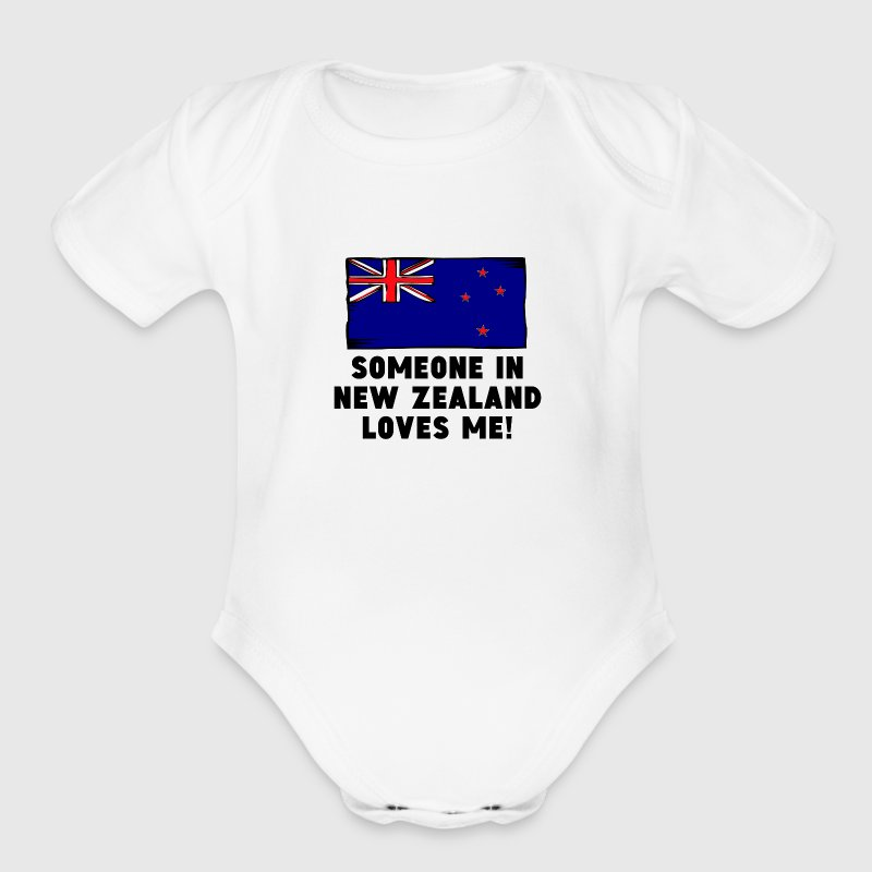Someone In New Zealand Loves Me! - Organic Short Sleeve Baby Bodysuit