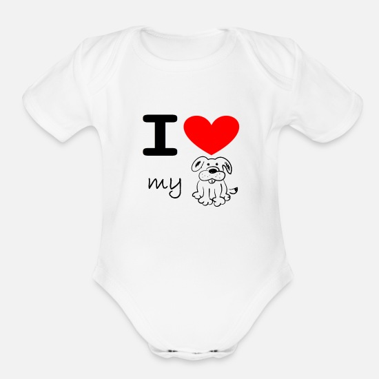 Love Baby Clothing - I love my dog - Organic Short-Sleeved Baby Bodysuit white