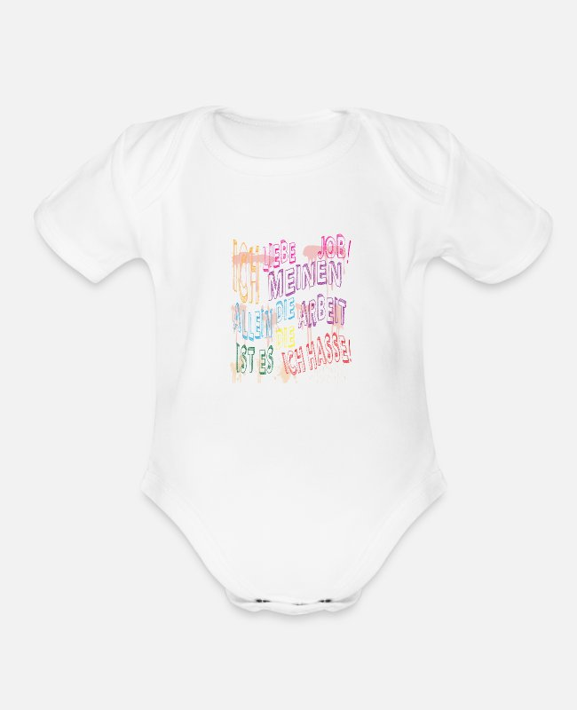 Office Baby One Pieces - job job - Organic Short-Sleeved Baby Bodysuit white