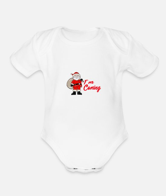 Christmas Baby One Pieces - Santa Claus - Organic Short-Sleeved Baby Bodysuit white