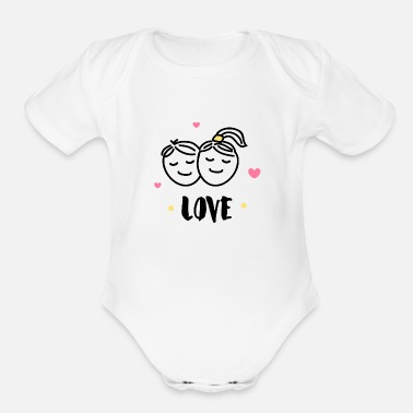 Two people are full of love funny - Organic Short-Sleeved Baby Bodysuit