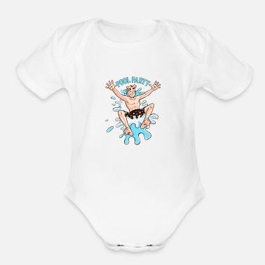 Archie Pool party at archies - Organic Short Sleeve Baby Bodysuit