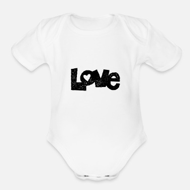 Africa Love letter text - Organic Short Sleeve Baby Bodysuit