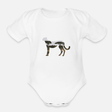 Cheetah Images Double Exposure Animals Cheetah - Gift Idea - Organic Short-Sleeved Baby Bodysuit