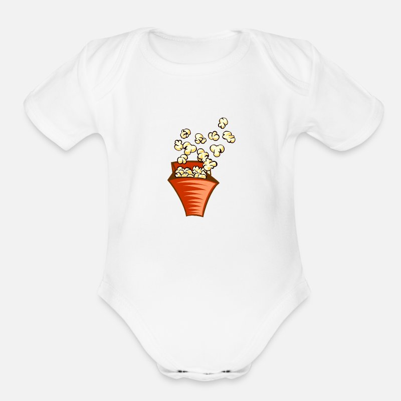 Cupfinal Baby Clothing - Popcorn In Cup - Organic Short-Sleeved Baby Bodysuit white