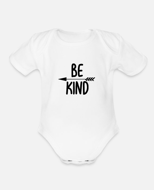Kind Baby One Pieces - Be kind - Organic Short-Sleeved Baby Bodysuit white