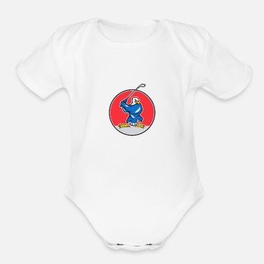 Teeing Off Blue Eagle Teeing Off Circle Cartoon - Organic Short-Sleeved Baby Bodysuit