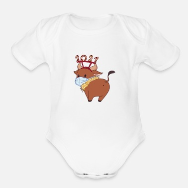 Bulls Happy bull 2021 - Organic Short-Sleeved Baby Bodysuit