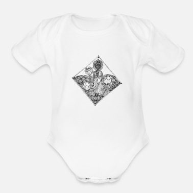Pen The Lined Design and The vector design. - Organic Short-Sleeved Baby Bodysuit