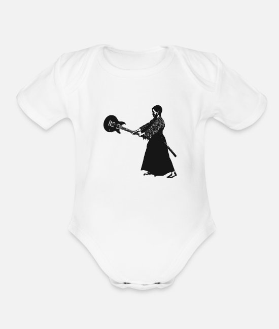 Warrior Baby One Pieces - Guitar Samurai - Organic Short-Sleeved Baby Bodysuit white