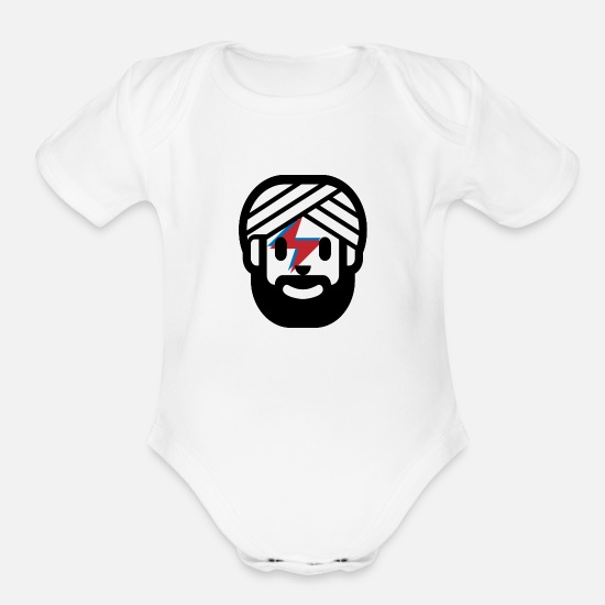Lightning Bolt Baby Clothing - Indian Lightning Bolt - Organic Short-Sleeved Baby Bodysuit white