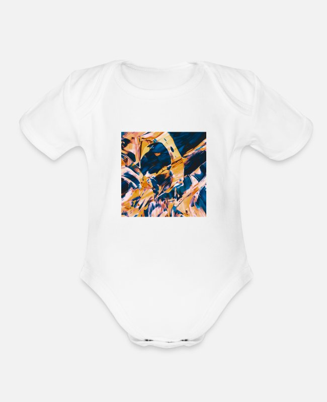 Recent Baby One Pieces - Abstract Paint Mix 17 - Organic Short-Sleeved Baby Bodysuit white