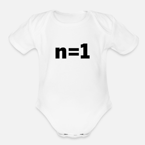 Statistics Baby Clothing - n equals 1, n=1, sample size statistics - Organic Short-Sleeved Baby Bodysuit white